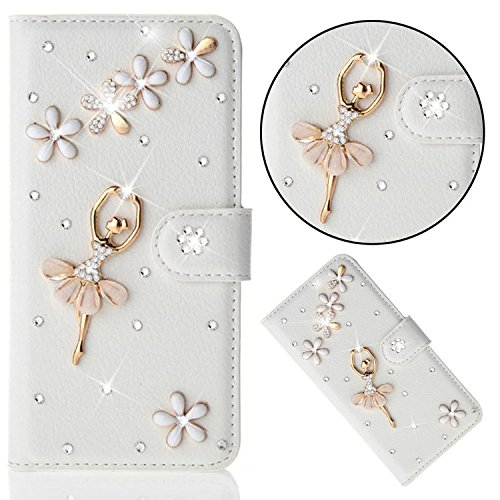 iPhone 8/iPhone 7 Custodia Pelle Folio e Glitter Bling Strass 3D DIY con Cinghie di telefono - Bonice Case Fatto a Mano Diamonte,PU Leather Con Super Sottile TPU Cover Interno,Morbido Protettiva Porta Diamante- Cover - 26