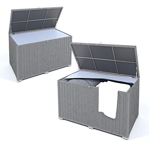 XXL Kissenbox wasserdicht Polyrattan 950L Anthrazit Auflagenbox Gartenbox Gartentruhe Aufbewahrungsbox