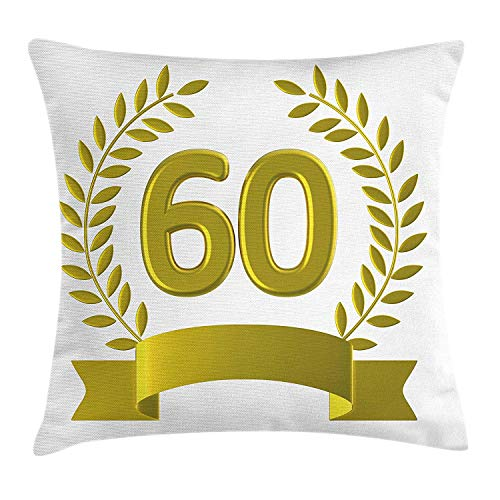 60th Birthday Throw Pillow Cushion Cover, Golden Age Themed Party with Roman Empire Theme Branches Artsy Print, Decorative Square Accent Pillow Case, 18 X 18 Inches, Olive Green Yellow
