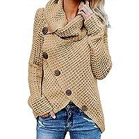 YOURUOMEI vrouwen Chunky Button Turtle Cowl Neck Asymmetrische zoom Wrap trui