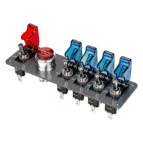 Jtron DC 12 V en fibre de carbone Racing Car Ignition Switch Panel + 5 LED Interrupteur à bascule Combinaison commutateur pour Racing Sport Compétitif