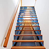 AZXC Stair Sticker Overpass 3D Scenery Stair Stickers Creative Decorative DIY Removable Stairs for Living Room Decoration 13 Pcs/Set,Blue