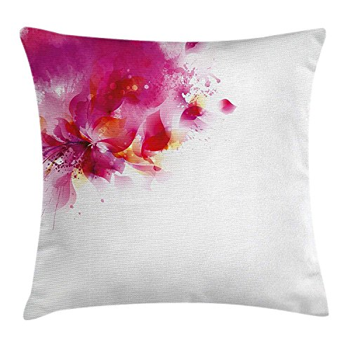 Pink Throw Pillow Cushion Cover, Abstract Flower Vibrant Color Splashes Falling Petals Contemporary Art Deco, Decorative Square Accent Pillow Case, 18 X 18 inches, Fuchsia Magenta Red (Cover Pink Splash)