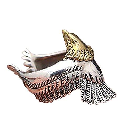 'Kanggest Anillo de Plata Hombres Tamaño Ajustable Moda Forma de Eagle de cuerda trenzada Anillo de Apertura Metal-Ajustable para Día de los Estilo vintage ' (Oro)
