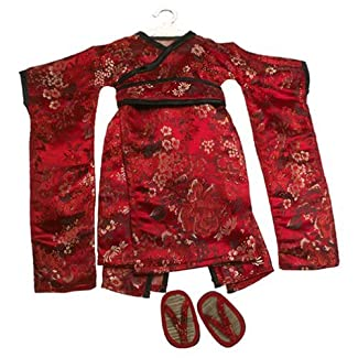 Red Brocade Japanese Kimono & Sandals ~ Doll Outfit Fits 18 American Girl