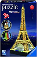 Ravensburger 12579 - Tour Eiffel, Night Special Edition, Puzzle 3D Building con LED, 216 Pezzi