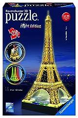 Idea Regalo - Ravensburger 12579 Tour Eiffel, Night Special Edition, Puzzle 3D Building con LED, 216 Pezzi