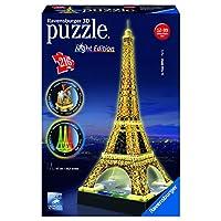 Ravensburger-125791-Eiffelturm-bei-Nacht-216-Teile-Puzzle-3D-Puzzle-Bauwerk-Night-Edition Ravensburger 3D Puzzle 12579 – Eiffelturm bei Nacht – 216 Teile - Start -