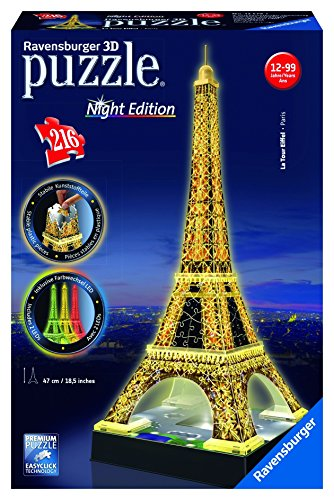 Ravensburger 12579 Tour Eiffel, Night Special Edition, Puzzle 3D Building con LED,...