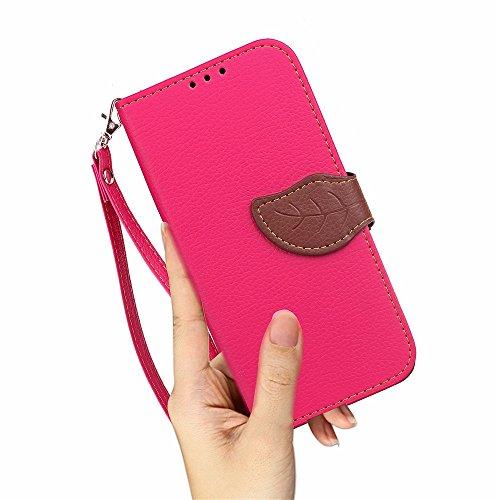 EKINHUI Case Cover Mischen Sie und passen Sie Farben-Blatt-magnetische Wölbung PU-lederner Fall-Mappen-Standplatz-Beutel-Abdeckung mit Abzuglinie für Samsung-Galaxie A8 2016 ab ( Color : Green ) Rose