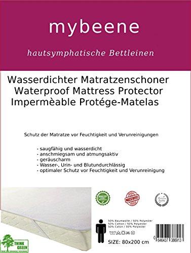 mybeene wasserdichter Matratzenschoner 60x120 mit 4 Eckgummis | Frottee | atmungsaktiv | geruchlos | trocknergeeignet | geräuschlos | Matratzen-Auflage | Schonbezug | Inkontinenz | Frottee Oberseite | weiß