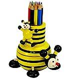 """MMM GmbH, Spieluhrenwelt, 43737 Holz Spieluhr Biene mit Buntstiften Box aus Holz, das ideale Geschenk zum Geburtstag, Namenstag oder zwischendurch als Mitbringsel, šberaschung, Aufmerksamkeit, Weihnachtsgeschenk, Dankesch""""n und Gruss"""
