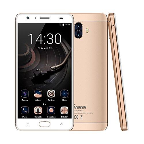 Gretel GT6000 Android 7.0 Smartphone 4G FDD-LTE 5,5 Zoll 6000mAh Akku Quad Core 2GB RAM + 16GB ROM Frontkamera (5MP) + Doppelkamera (13MP) WiFi Fingerabdruck Dual SIM,Ohne Vertrag