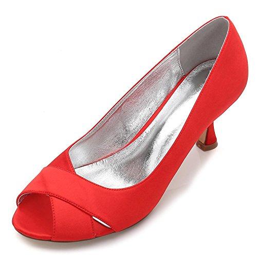 Peep 13 Stitching Satin Lace red L Mesure Soie Pour Chaussures de Sur Sandals Toe Mariage E17061 YC Comme Femmes Fxqp0wPF