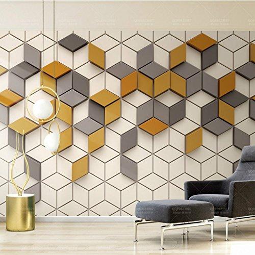Kuamai Mosaicos Cuadrados Patrón Geométrico 3D Más Barata De Cubo De Papel Tapiz Papel Tapiz Mural Personalizado Especializado En El Salón 400X280Cm.