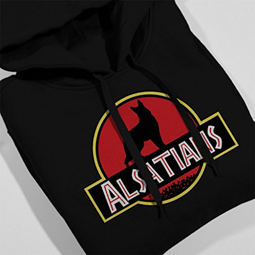 Alsatian Dog Jurassic Park Mix Women's Hooded Sweatshirt Black