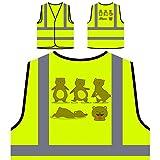 Spaß-Set Bär Personalisierte High Visibility Gelbe Sicherheitsjacke Weste r558v