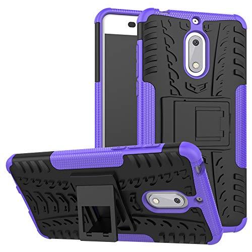 LFDZ Nokia 6 Coque, Armor Support Protection Étui,Anti Chocs Bumper Étui Hybride Protection Housse Cover pour Nokia 6 Smartphone (4 en 1 Cadeau emballé),Violet