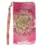 Strap Leather Case for Samsung Galaxy J3 2016,Flip Wallet Cover for Samsung Galaxy J3 2016,Herzzer Lucky Flower Pattern Magnetic Closure Purse Folio Smart Stand Cover with Card Cash Slot Soft TPU Inner Case for Samsung Galaxy J3 2016 + 1 x Free Pink Cellphone Kickstand + 1 x Free Pink Stylus Pen