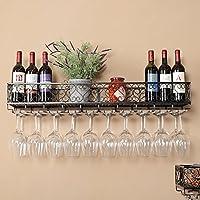 BTJJ Estantes montados en la Pared del Vino de la Cocina, sostenedores Decorativos del cubilete del Hierro labrado del Restaurante, estantes del Vino del Vino Creativo del hogar