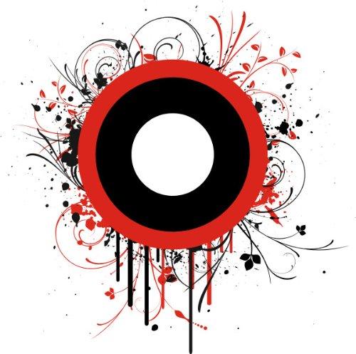 T-Shirt E084 Schönes T-Shirt mit farbigem Brustaufdruck - Logo / Comic - abstraktes Rankentribal mit schwarz-weiss-rotem Kreis Schwarz