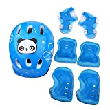 Dilwe Set di Protezioni, 7pcs Ginocchiere Regolabili Gomitiere Protezioni Polso per Skateboard Bambini Roller Bicycle 4-16 Years Old Christmas Gift(Blu)