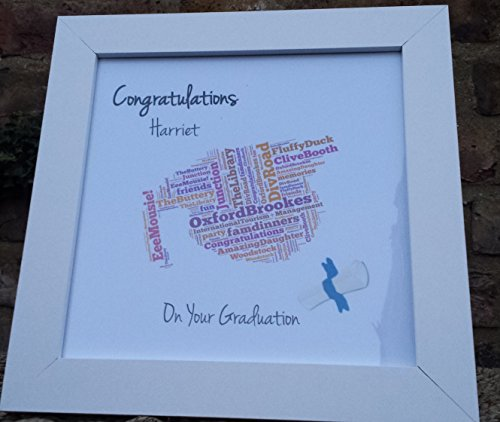Graduazione Wordart stampa + telaio bianco inclusi- personalizzato e regalo fatto a mano