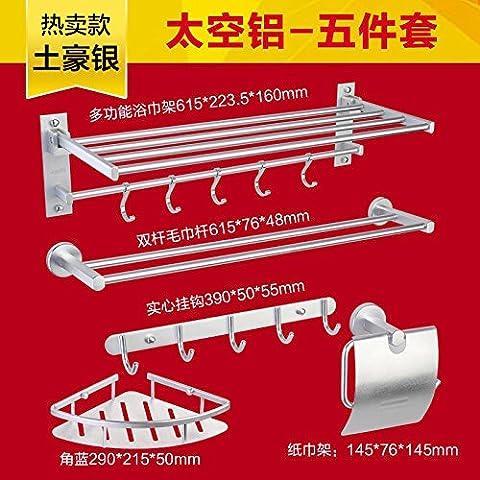 STAZSX Raum-Aluminium Rack Badezimmer Zubehör Toilettenpapier Halter Platz Aluminium Mantel