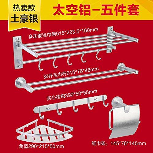 Rustikale Metall-5 Stück (STAZSX Raum-Aluminium Rack Badezimmer Zubehör Toilettenpapier Halter Platz Aluminium Mantel Haken Handtuchhalter, DT016-5 Silber mit fünf Stück Abdeckung)