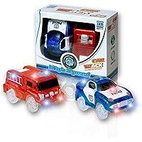MIGE Auto Spur Polizei Einsatzwagen und Feuerwehrauto Electric Auto Leuchten im Dunkeln mit Magic Tracks für Kinder 3 Jahre und bis(Packung von 2)