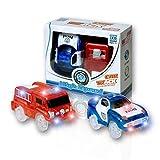 MIGE Auto Spur Polizei Einsatzwagen und Feuerwehrauto Electric Magic Auto Leuchten im Dunkeln mit Twister Tracks für Kinder 3 Jahre und bis Packung von 2 (Rot + Blau) - MIGE