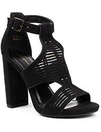 Ideal Shoes - Sandales ajourées effet daim à talons Minka
