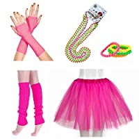 INNOBASE 80s Fancy Dress Neon Adult Tutu,Leg Warmers,Fishnet Pink Gloves,Fluorescent Bead Necklaces and Bracelets 1980s Party Costume Accessories Set for Girls Women Night Out Party (A1)