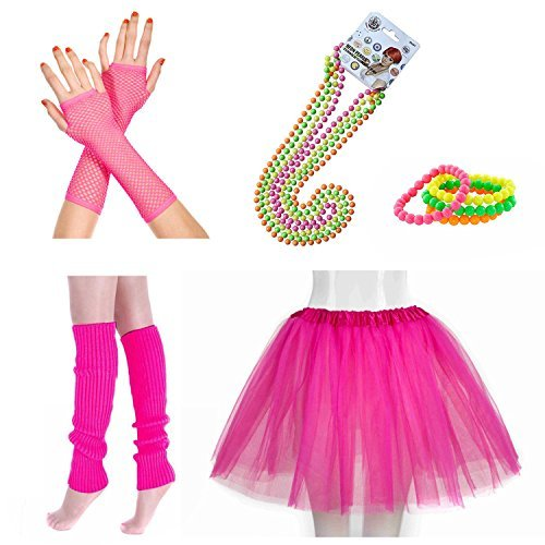 Ladies Neon Pink Tutu Skirt with Leg Warmers, Gloves and Colourful Beaded Jewellery. 8 Sets Available