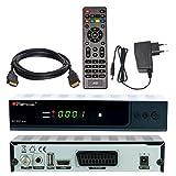 SATELLITEN SAT RECEIVER ✨ HB DIGITAL DVB-S/S2 SET: Hochwertiger DVB-S/S2 Receiver + HDMI Kabel mit Ethernet Funktion und vergoldeten Anschlüssen (HD Ready, HDTV, HDMI, SCART, USB 2.0, Koaxial S/PDIF Ausgang, 12v/230V)