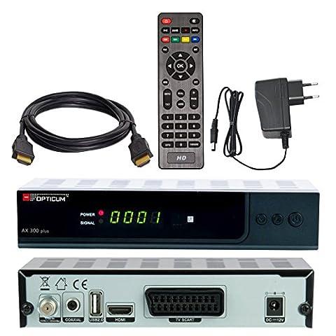 SATELLITEN SAT RECEIVER ✨ HB DIGITAL DVB-S/S2 SET: Hochwertiger DVB-S/S2 Receiver + HDMI Kabel mit Ethernet Funktion und vergoldeten Anschlüssen (HD Ready, HDTV, HDMI, SCART, USB 2.0, Koaxial S/PDIF Ausgang,