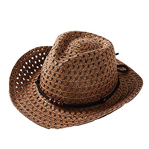 edora Hut für 2-6 Jahre Kinder Mädchen Junge Strand Sonnenhut Mode Atmungsaktiv Cowboy Mütze Faltbarer Strohhut Trilby Gangster Hut mit Sonnenschutz breite Krempe (Kaffee) ()