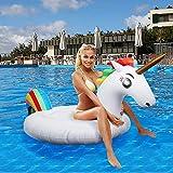 Flotador inflable para piscina con forma de unicornio, paseo flotante gigante con válvulas rápidas para