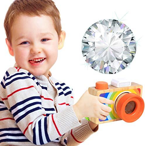 HWUKONG Kinderkamera, Kaleidoskop Baby-Lernspielzeug Analoge Kamera, Multi-Prisma-Vielfalt Kinderspielzeug mit Spaß, Holz-Cartoon-Spiegelreflexkamera