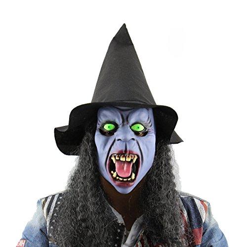 Ckeyin, Horror Latex Hexe Ghost Maske Halloween Weihnachten Cosplay Kostüm Party Masquerade für Erwachsene (Beängstigend Masken Hexe)