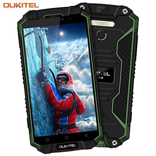 Telefonos Móvil, OUKITEL K10000 MAX 4G Smartphone Libre Grande 10000mAh Batería, 5,5 pulgadas IP68 Impermeable Antipolvo Antigolpes, 8MP + 16MP Cámara, Android 7.0, Octa Core 1.5GHz 3GB RAM + 32GB ROM, Superpower LED Linterna Dual SIM Huella Digital OTG - Verde