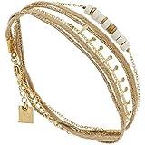 Zag Bijoux Bracelet Multi-Tours 3 Rangs Perles Blanches (doré Jaune)