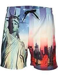 Mens Swim Shorts Soulstar Liberty USA New York Print Mesh Lined Summer Trunks