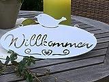 Campo Schild Türschild Metallschild Willkommen mit Vogel und Herz, Weiß Oval 40 * 22,5 cm
