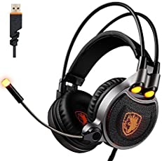 Cuffie Gaming per PS4 PC ,SADES SA-R1 Suono Surround 7.1 Cuffia Gaming USB con Microfono controllo volume LED luce vibrazione