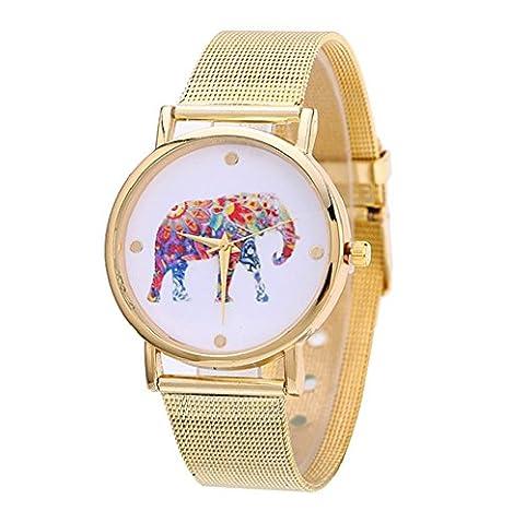 Tongshi Neue Mode Frauen Design Elefant Muster Gold Uhren Dial