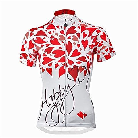 Kranchungel Cycling Jersey for Women Short Sleeve Red Flower Bike