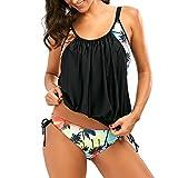 Tankini Damen Set Große Größen Sexy Push up Blumenmuster High Waist Bademode Frauen Badeanzug Bikini-Set (EU 46-48)