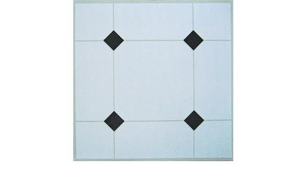 Piastrelle adesive da pavimento in vinile bianco nero