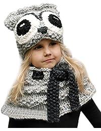Wawer Nette dei Bambini di Inverno Caldo Cappelli Maglia Cappello e Sciarpa  Cappelli per Autunno Inverno 7e7ddf7aa473